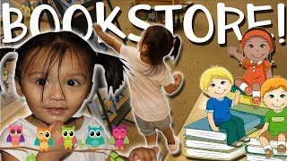 baby goes crazy in the bookstore