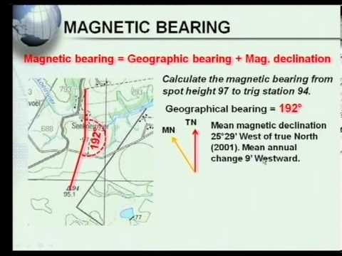 Matric revision: Geography: Map Work: Calculations (5/7): Magnetic Bearing