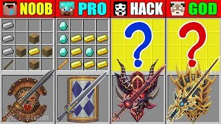 Minecraft NOOB vs PRO vs HACKER vs GOD SUPER SWORD SHIELD CRAFTING CHALLENGE in Minecraft Animation