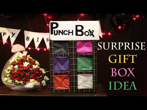 Surprise Punch Box For Gift TUTORIAL-Brand New Idea For Surprise-Romantic Birthday Arrangement hubby
