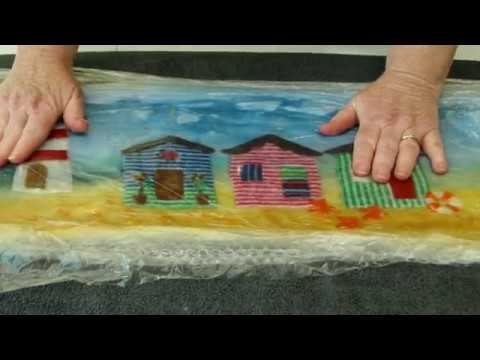 How to make an Artfelt Beach Hut Seaside Felt Picture
