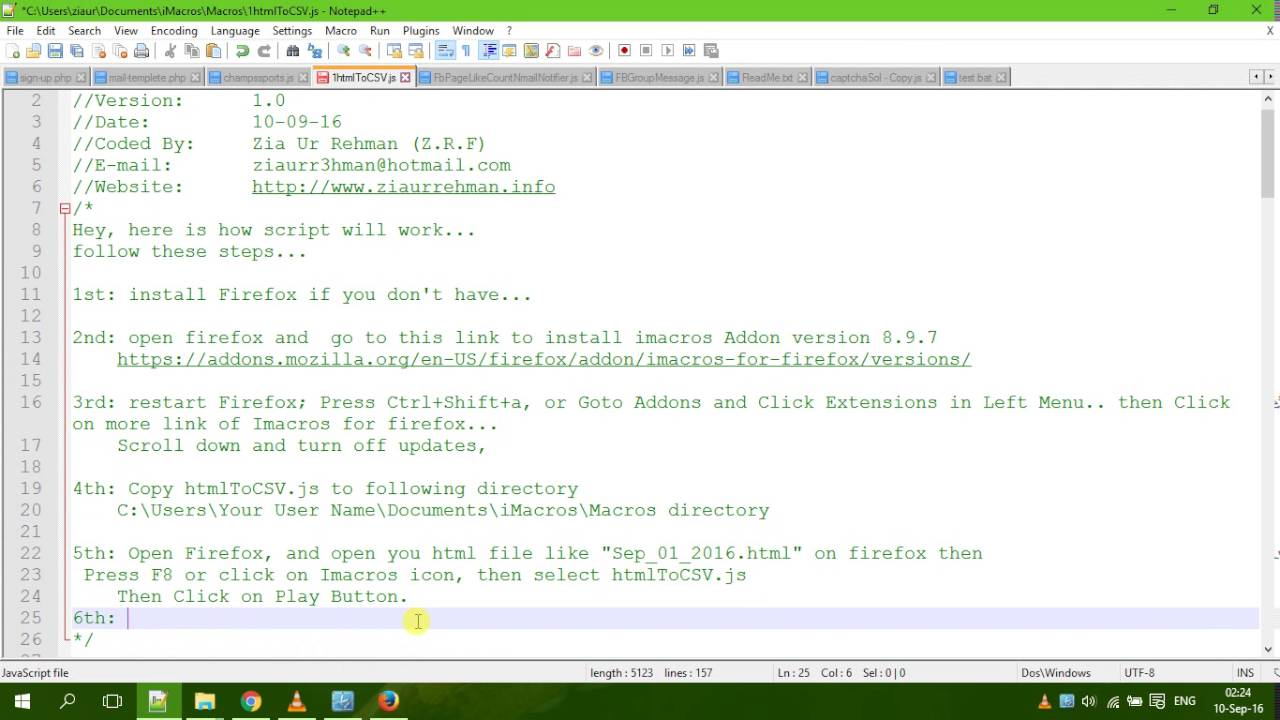 Organizeplex Html Data Into Csv Using Imacros Javascript