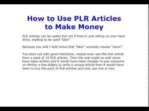 make money from plr articles