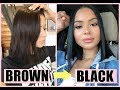 HOW I DYE MY HAIR AT HOME FROM BROWN TO BLACK | Diana Saldana