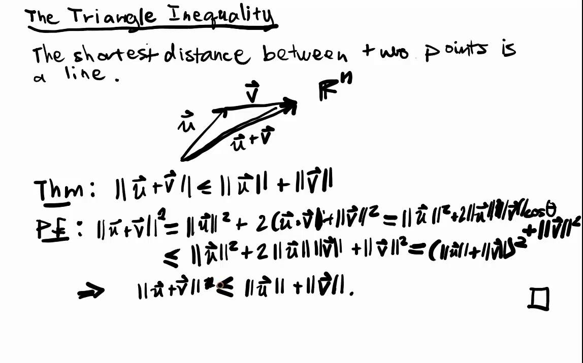 Euclidean Spaces Lecture 2 Part 2: The Triangle Inequality - YouTube