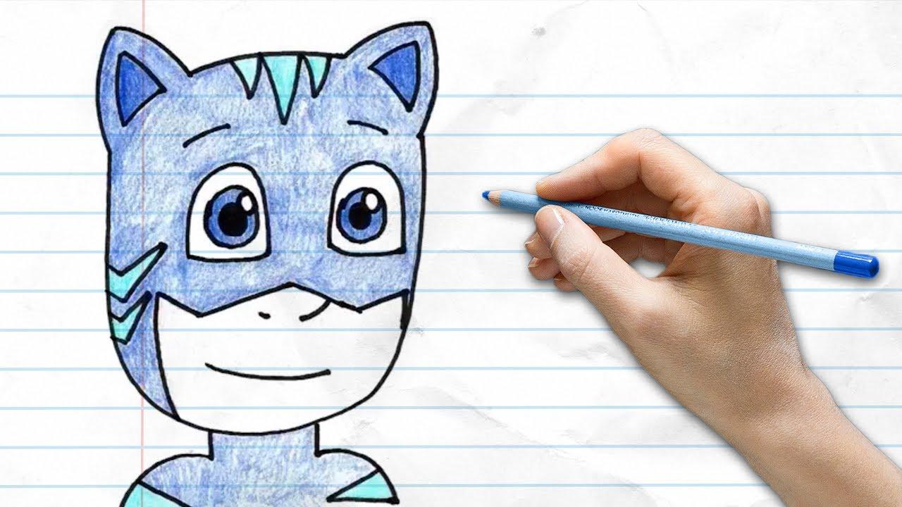 How to draw Catboy from PJ Masks | Disney Junior | Pocket Preschoool