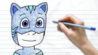 How to draw Catboy from PJ Masks   Disney Junior   Pocket Preschoool