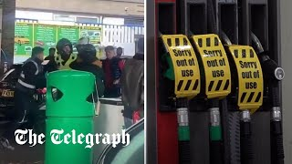 video: 'Like the end of days': Drivers stalk petrol tankers and fight at the pumps as fuel crisis deepens