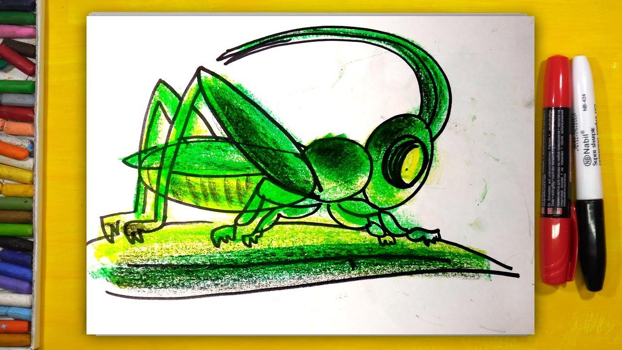 Как нарисовать КУЗНЕЧИКА, Урок рисования для детей от 3 ...