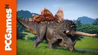 Jurassic World Evolution Stegoceratops reveal trailer: witness Dr Wu