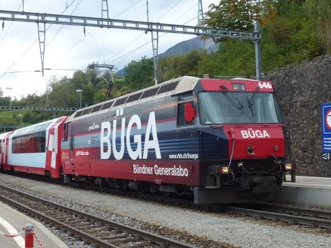 Trains passing at Filisur in Switzerland on 18 Sept 14