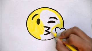 How to Draw the Kissing Emoji - For Beginners