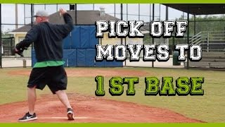 How to pick oḟf baserunners (1 of 3) Pick off moves to first base