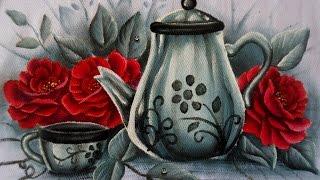 Como pintar Rosa, Xicara e bule em tecido