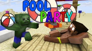 Monster School: POOL PARTY CHALLENGE - Minecraft Animation