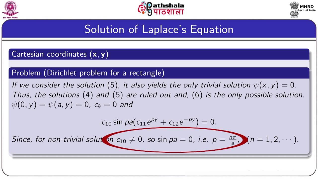Solution of two dimensional laplace equation by seperation of variables  (Maths)