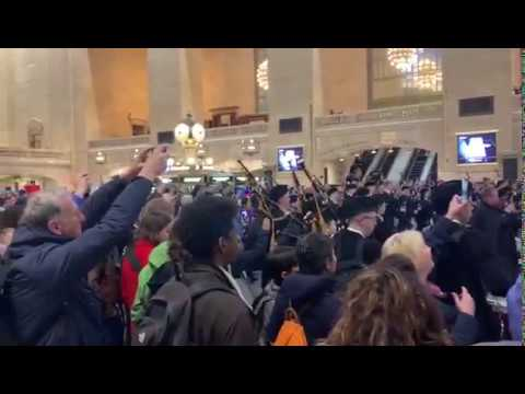 North Lanarkshire Schools Pipe Bands At Grand Central Station New York