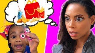 McDonald's Drive Thru Prank! Pretend Play Kids Happy Meal Toy | Hypnotize Mommy!