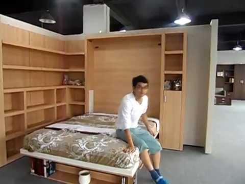office desk bed. Space Saving Wall Bed Vertically Double With Bookshelf And Office Desk - YouTube