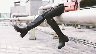 Женские сапоги до колена на толстом каблуке и тракторной подошве -  MOD обзор