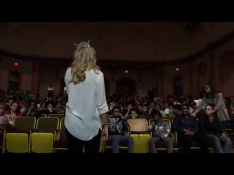 Miss America Savvy Shields visits Nathanael Greene Middle School.