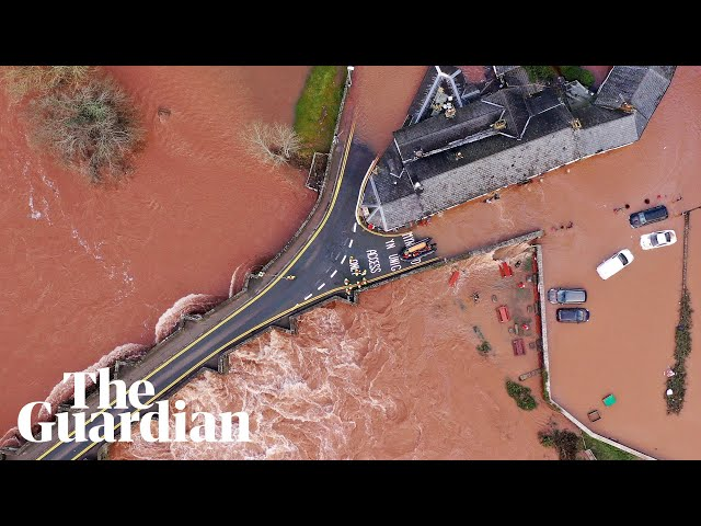 Storm Dennis: huge waves and flooded roads in England and Wales