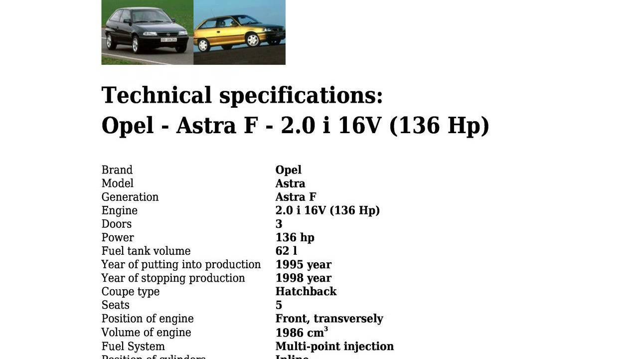 Opel Astra Technical Specifications >> Opel Astra F 2 0 I 16v 136 Hp Technical Specifications Youtube