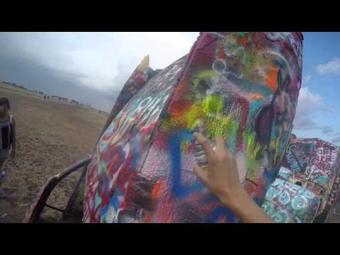 Visiting Cadillac Ranch in Amarillo Texas