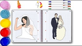 Groom And Bride And Wedding Drawing And Coloring Pages For Kids