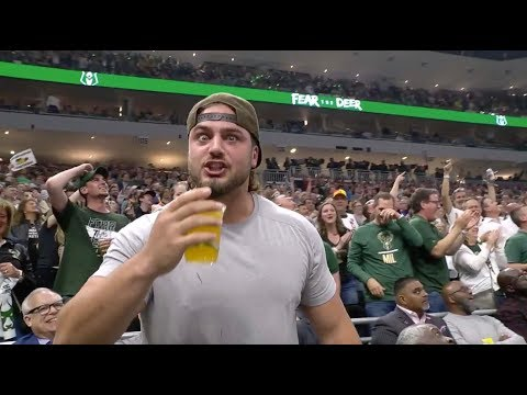 Tanner and Drew - Aaron Rodgers and a Packers Lineman Chug Beers at The Bucks Game