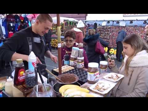 Worlds Smallest Poffertjes / Dutch Pancake Shop: Amsterdam Street Food in Inverness St Market London