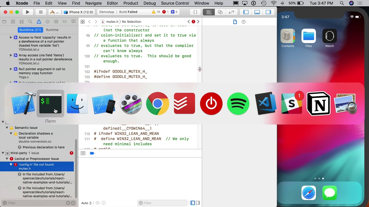 Fix Broken React Native Projects in Xcode 10