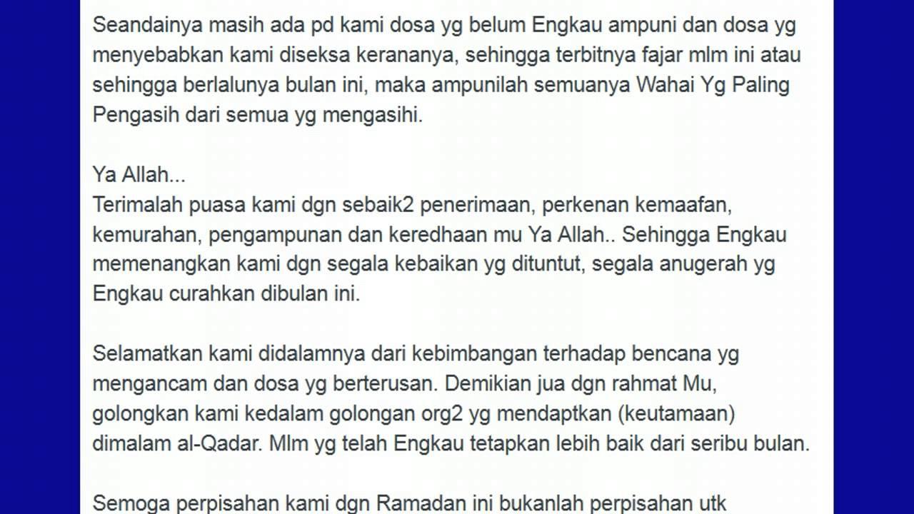 Doa Akhir Ramadhan Amin Youtube