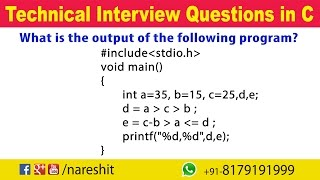 Relational Operators | C Technical Interview Questions and Answers | Mr. Srinivas