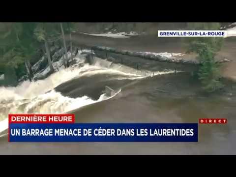 Alerte de risque de rupture de barrage dans les Laurentides  au Québec