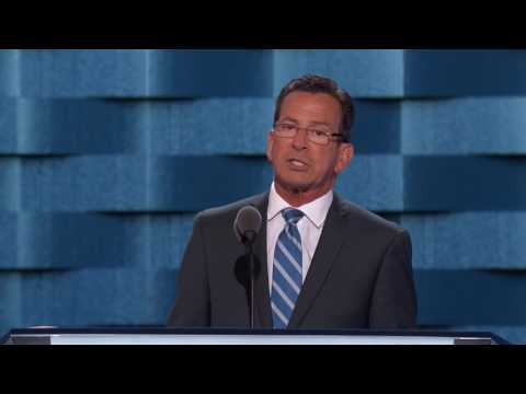 Gov. Dannel Malloy speaks Monday evening at the Democratic National Convention.