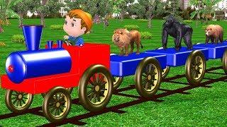 Wild Animals Cartoons Train Video For Kids ||  Domestic Animals For Children