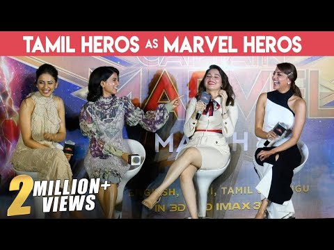 MOST GORGEOUS PRESS MEET EVER | FULL FUN | Kajal , Tamannaah, Samantha & Rakul | Captain Marvel