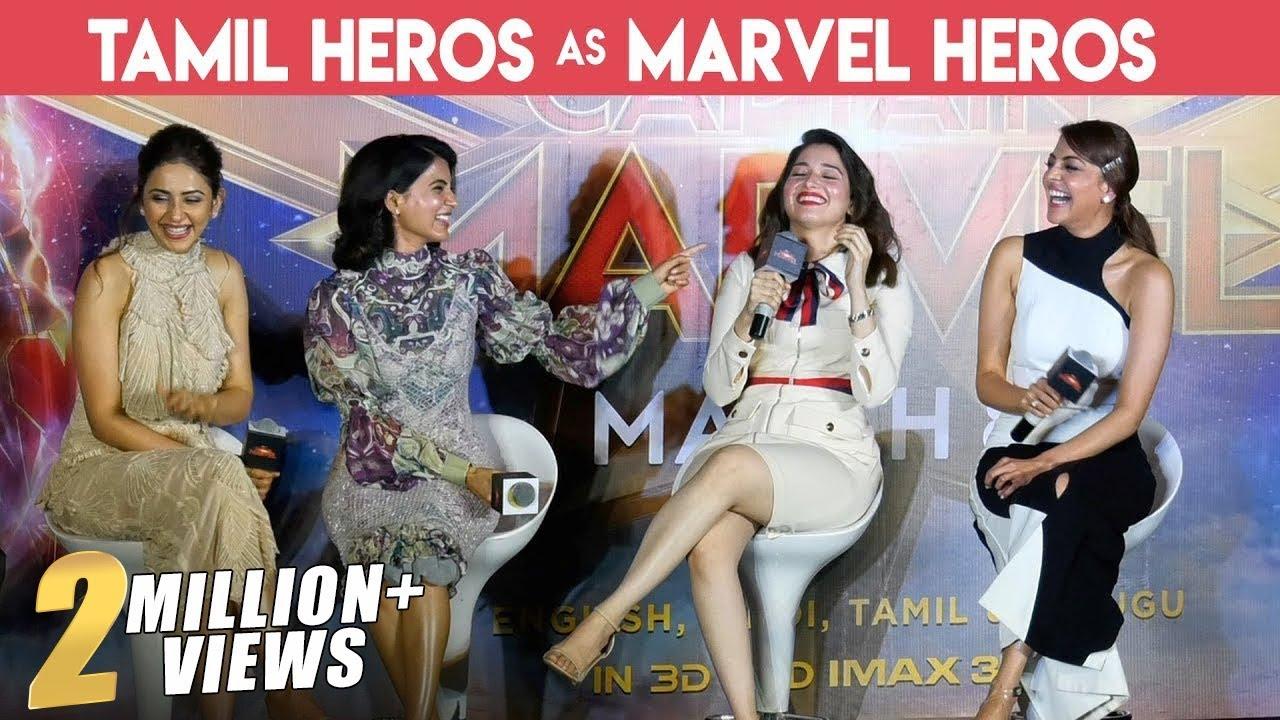 Download MOST GORGEOUS PRESS MEET EVER   FULL FUN   Kajal , Tamannaah, Samantha & Rakul   Captain Marvel