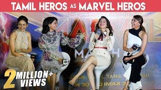 Download Video MOST GORGEOUS PRESS MEET EVER | FULL FUN | Kajal , Tamannaah, Samantha & Rakul | Captain Marvel MP3 3GP MP4