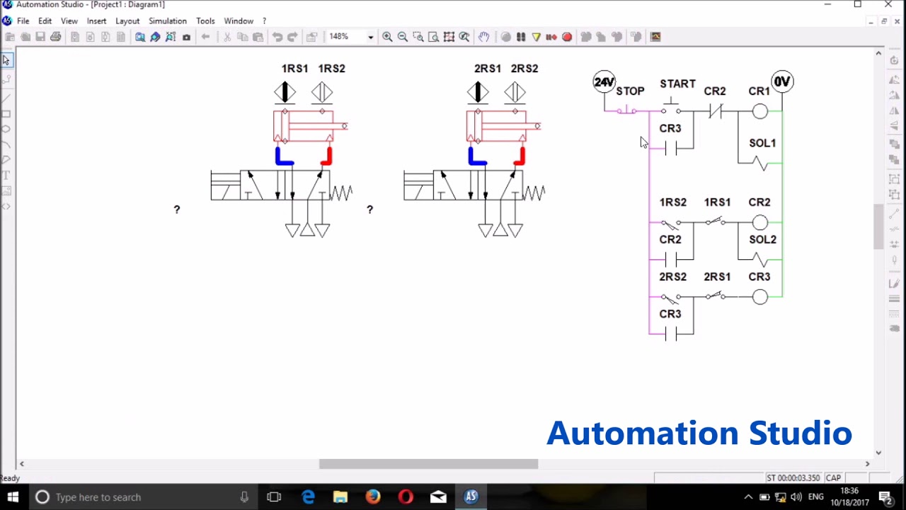 automation studio relay ladder logic electro pneumatics [ 1280 x 720 Pixel ]