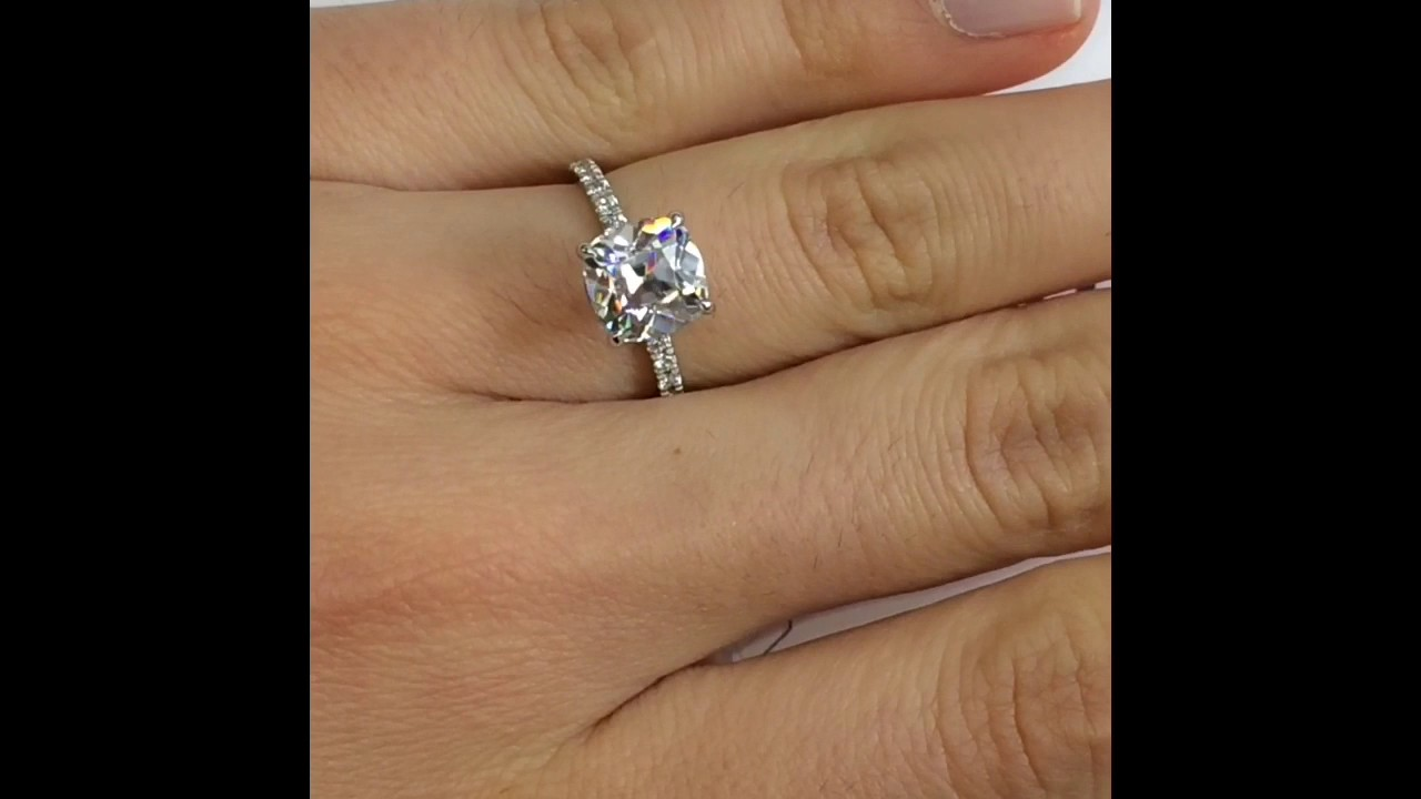 Antique Cushion Moissanite Pave Prong Engagement Ring