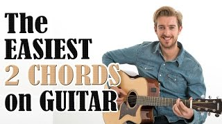 Beginners First Guitar Lesson - The EASIEST 2 Chords On Guitar