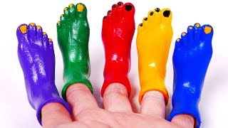 Learn Colors with Nursery Rhymes and Colorful Toes Feet Toy for Children