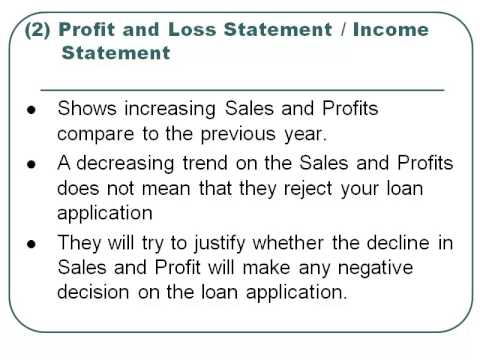 how profit and loss statement affects your business loan application
