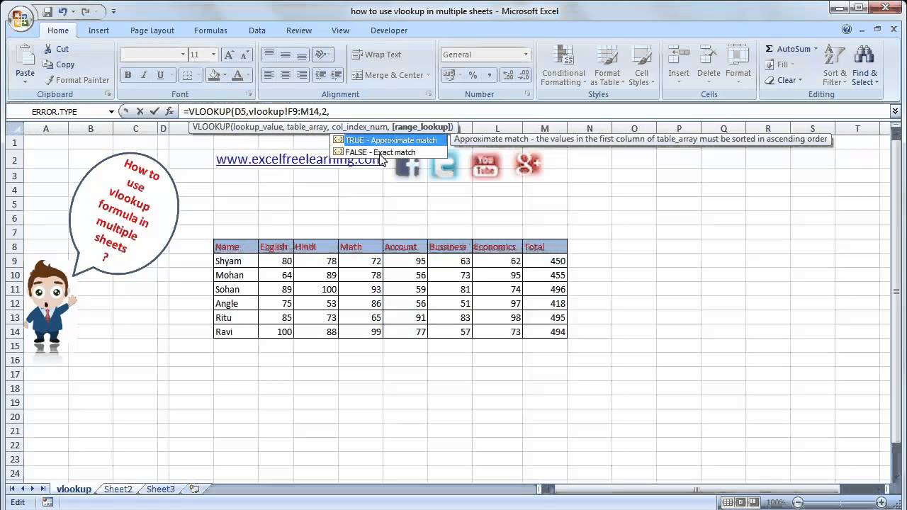 How To Use Vlookup In Multiple Sheet In Hindi