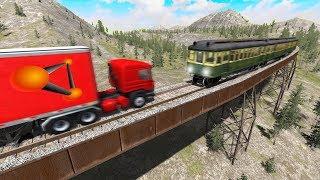 BeamNG drive - Train vs Truck   Slow Mo