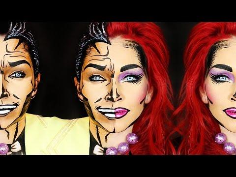 Cartoon Makeup Half Man-Half Woman