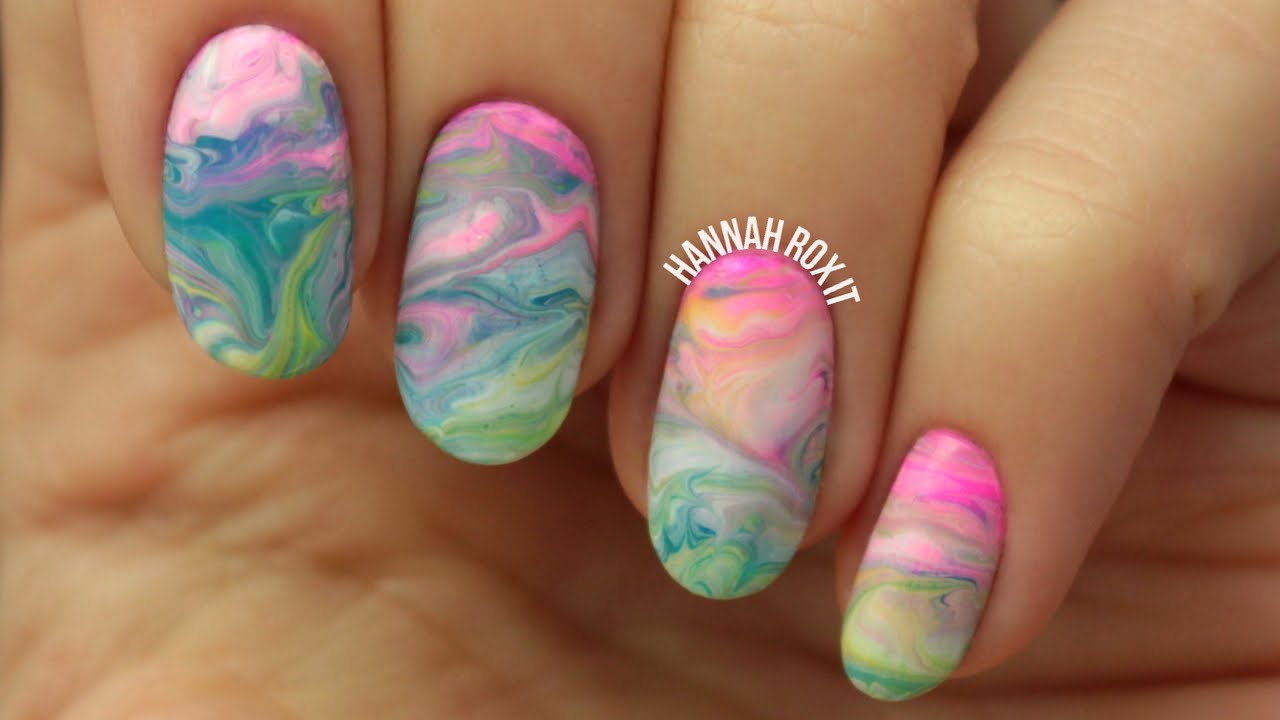 LUSH Bath Bomb Inspired Nails (dry marbling, EASY!) - YouTube
