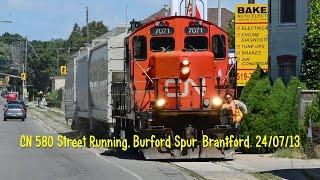 CN 580 Street Running, Burford Spur, Brantford. 24/07/13